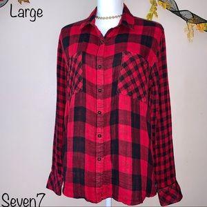 Seven7 Red & Black Plaid Button-Up Shirt, Large